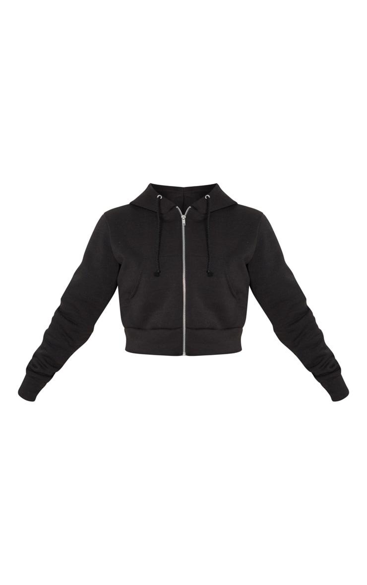 Petite Black Cropped Zip Hoodie 3
