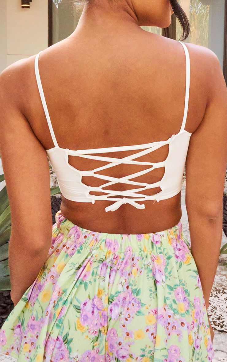 White Slinky Lace Up Back Crop Top 4