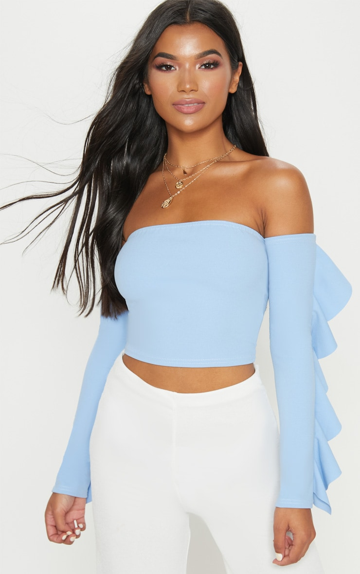 Dusky Blue Crepe Bardot Frill Sleeve Crop Top 1