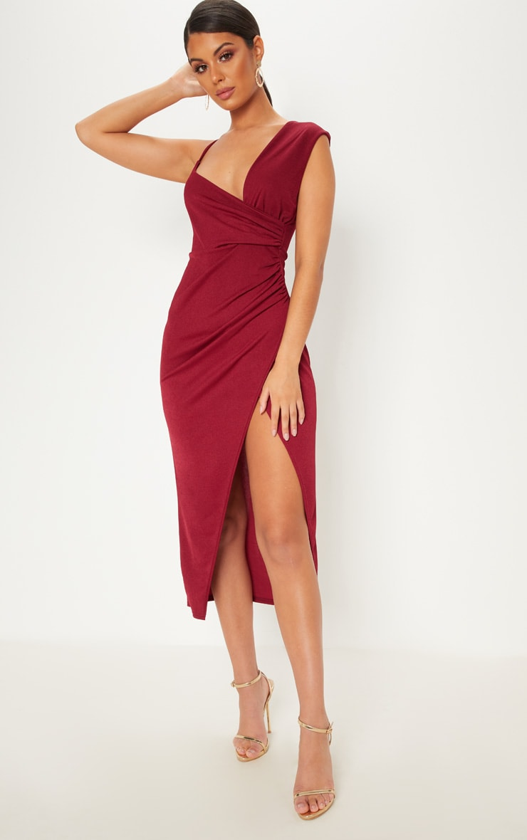 Burgundy Asymmetric Sleeve Ruched Midi Dress 1