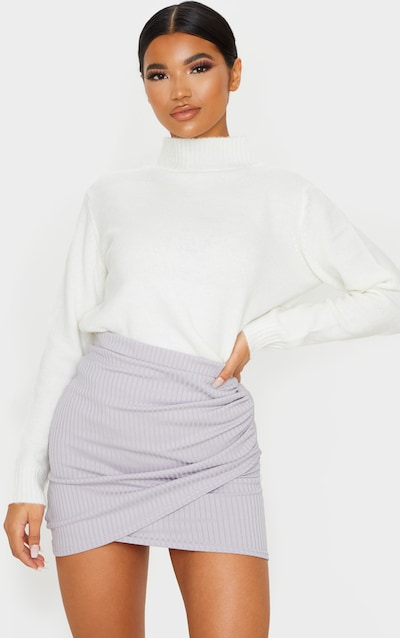 Grey Ribbed Ruched Wrap Mini Skirt