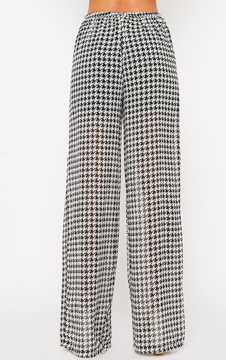 Paola Monochrome Dogtooth Sheer Palazzo Trousers 2