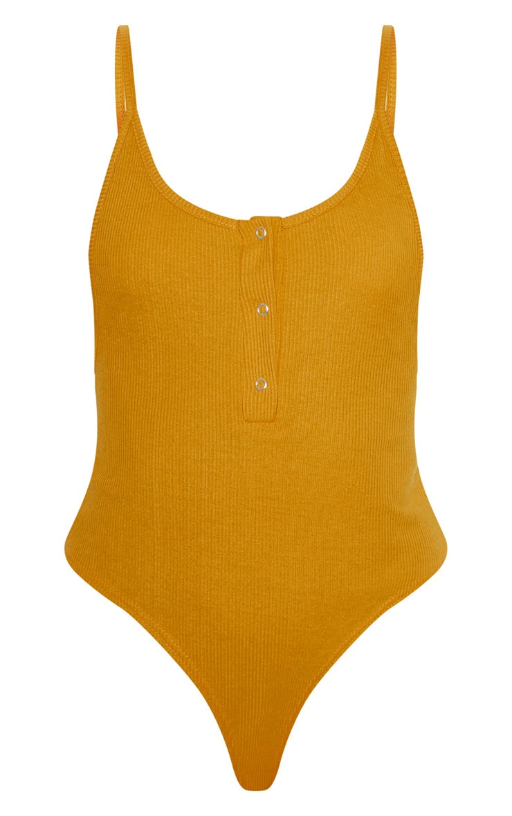 Mustard Popper Front Scoop Back Thong Bodysuit  3