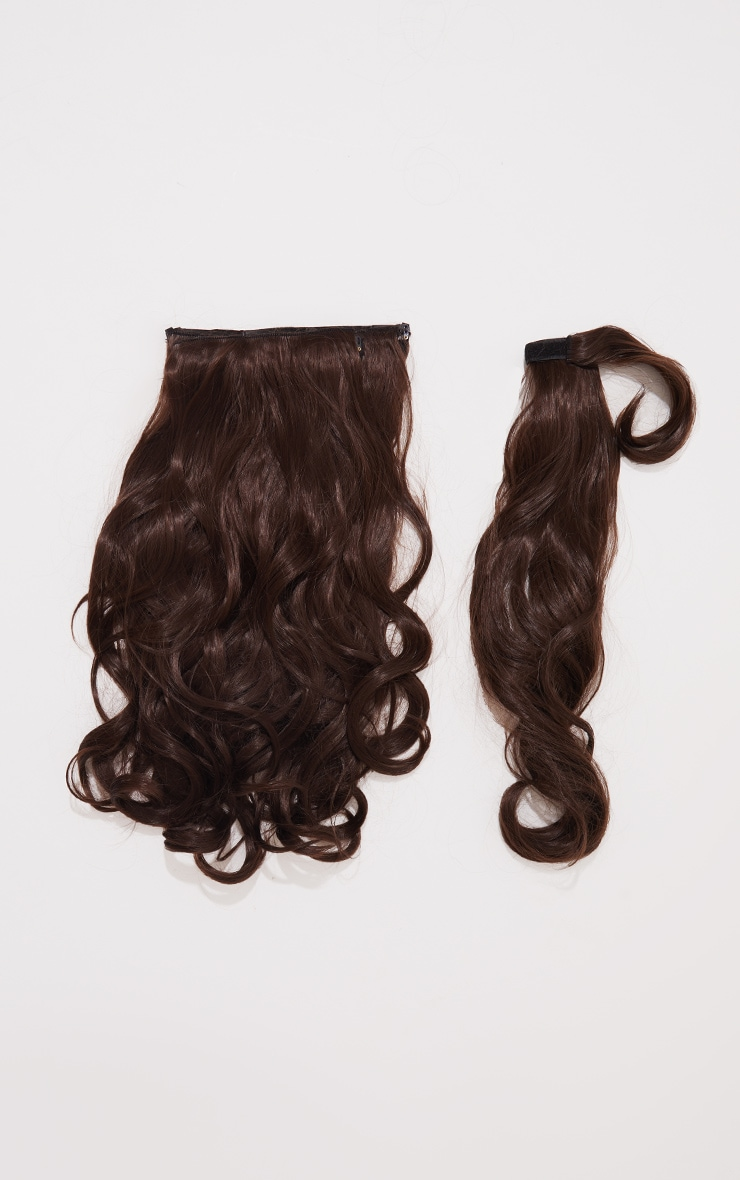 Lullabellz Ultimate Half Up Half Down 22 Curly Extension and Pony Set Choc Brown 5
