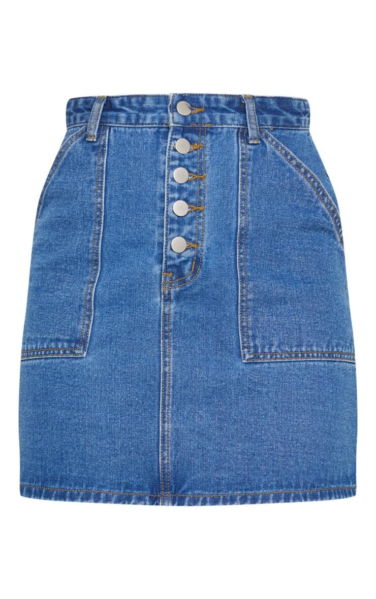 Mid Blue Wash Button Up Denim Skirt 6