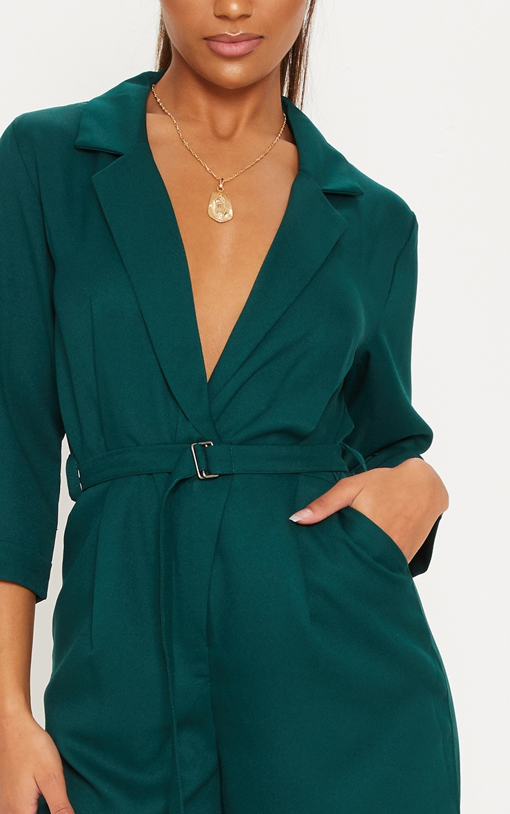 Emerald Green Woven Plunge Wide Leg Jumpsuit 5