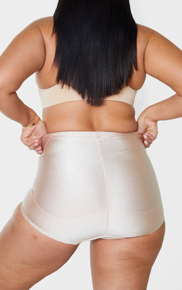 Plus Nude Satin Panelled High Waist Bow Detail Control Briefs 4