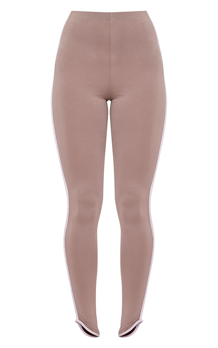 Bee Taupe Contrast Piping Leggings 3