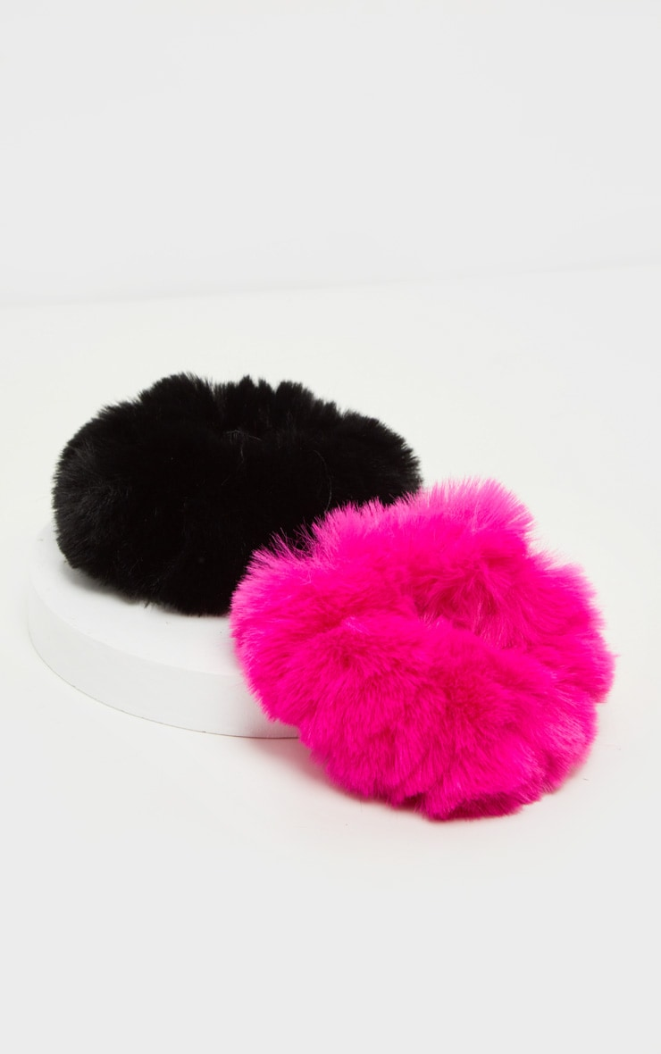 Black And Hot Pink Faux Fur Scrunchie Two Pack  2