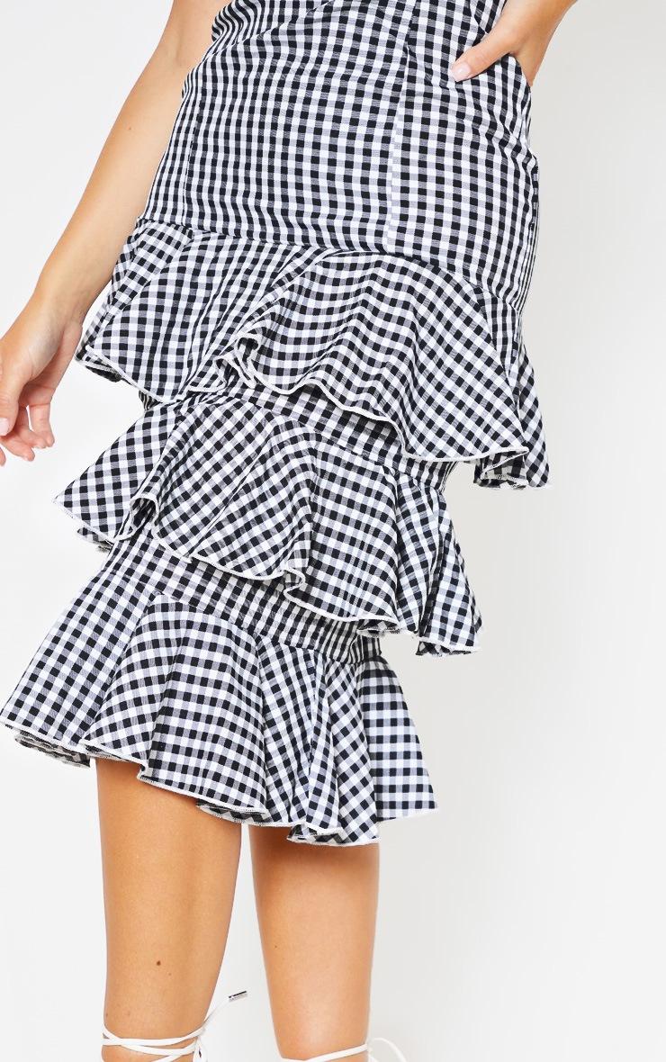 Monochrome Gingham Ruffle Tiered Midi Dress 5