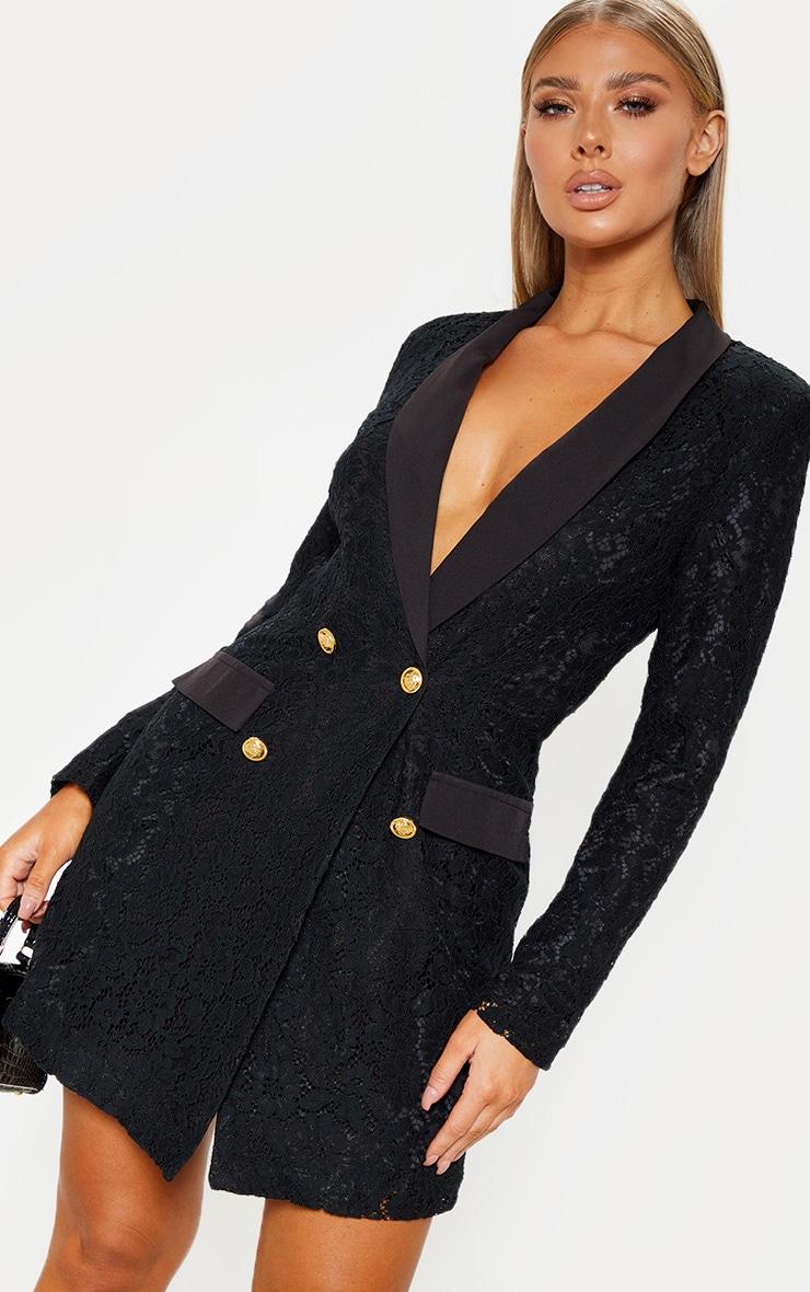 Black Lace Gold Button Blazer Dress 4