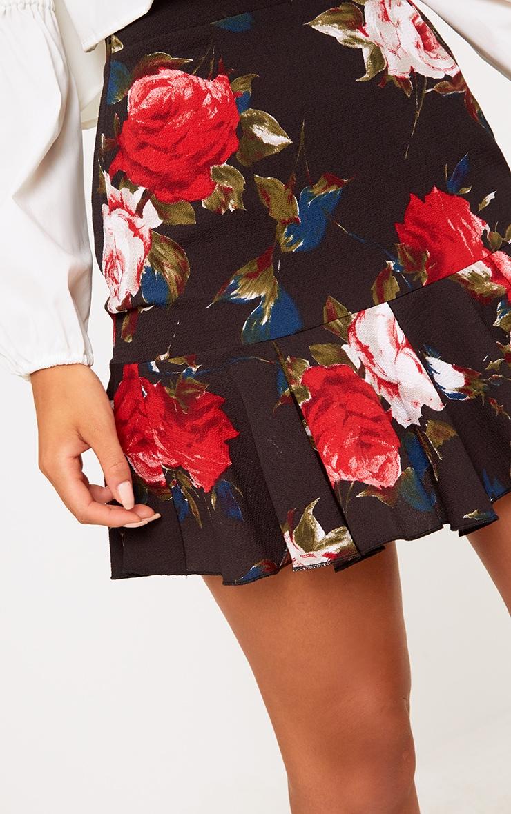 Black Rose Print Frill Hem Mini Skirt 5