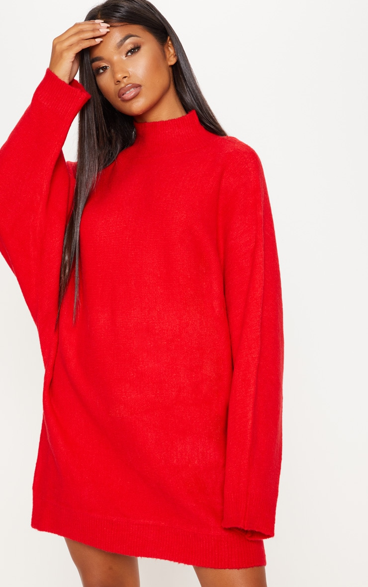 Red Knitted Jumper Dress Knitwear Prettylittlething Usa