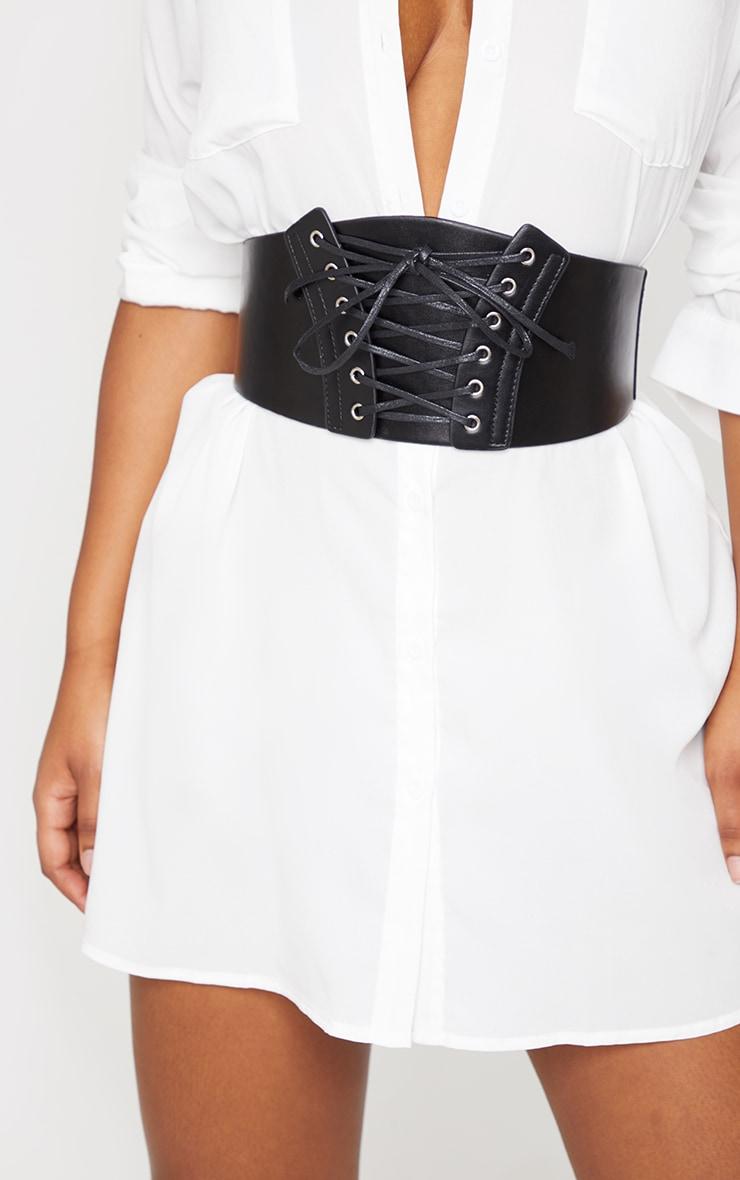 Black Pu Corset Belt 2