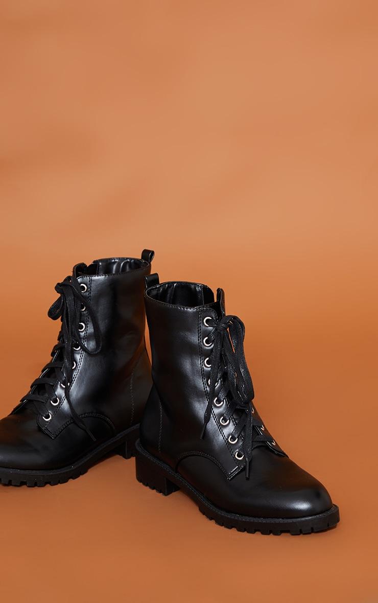 Black Basic PU Biker Boots 4