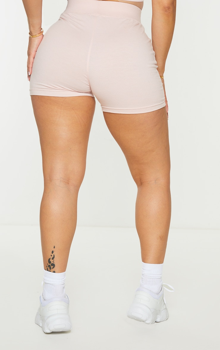 PRETTYLITTLETHING Shape Baby Pink Badge Detail Shorts 3