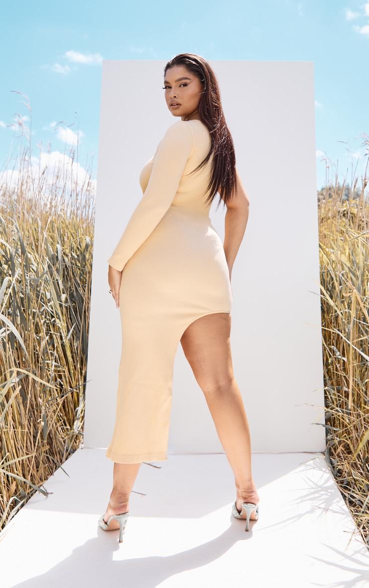 Plus Peach Rib Contour One Sleeve Split Maxi Dress 2