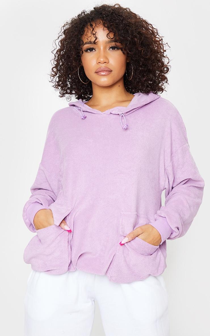 Lilac Towelling Oversized Pocket Sweatshirt 1