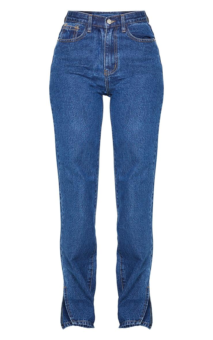 Dark Blue Wash Split Hem Straight Leg Jeans 5