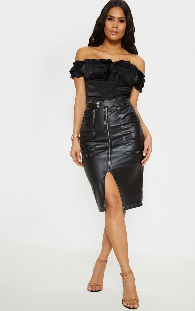 Black Faux Leather Contrast Stitch Midi Skirt 1