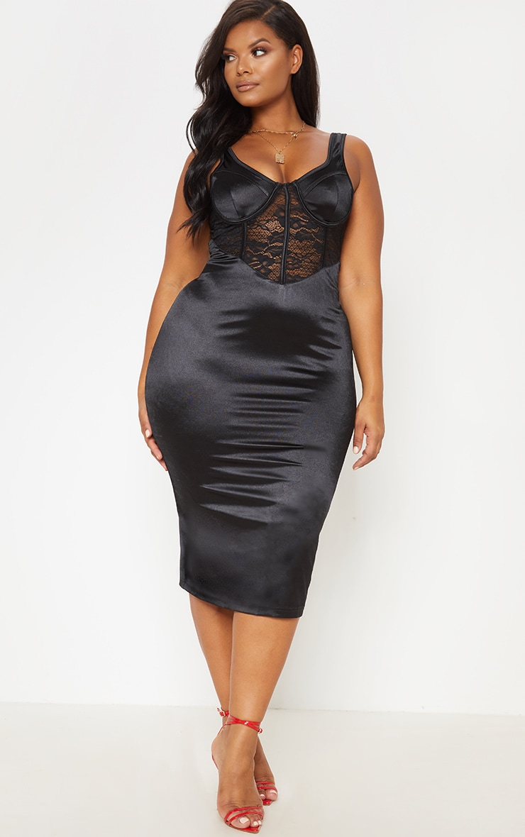 Black Satin Bustier Lace Insert Midi Dress 2