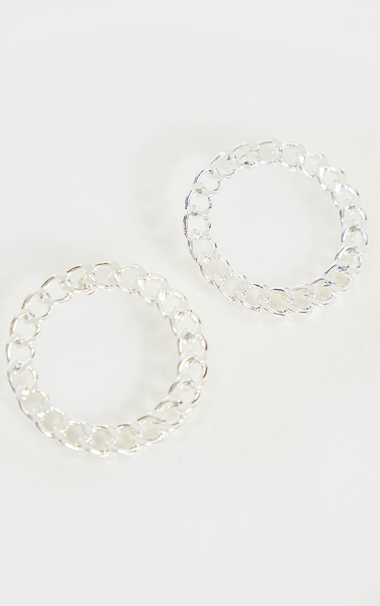 Silver Round Chain Double Hoop Earrings 3