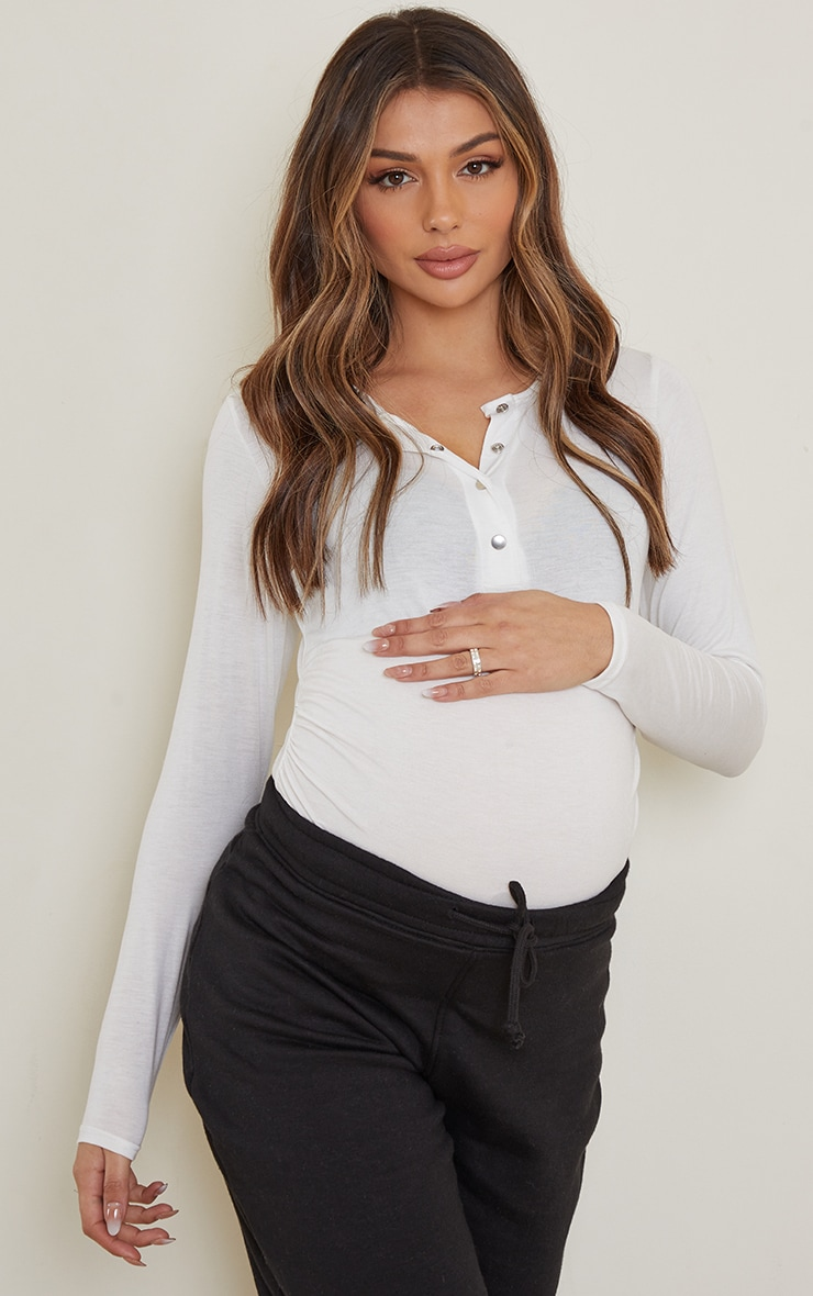 Maternity Cream Ruched Bump Bodysuit 1