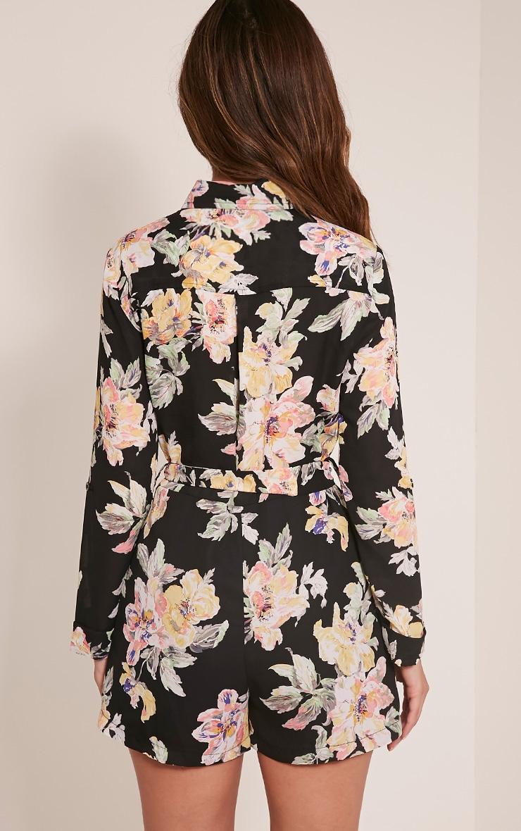 Jada Black Floral Print Shirt Playsuit 5