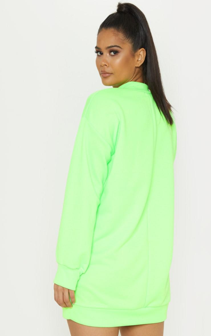 Neon Lime Zip High Neck Jumper Dress 2