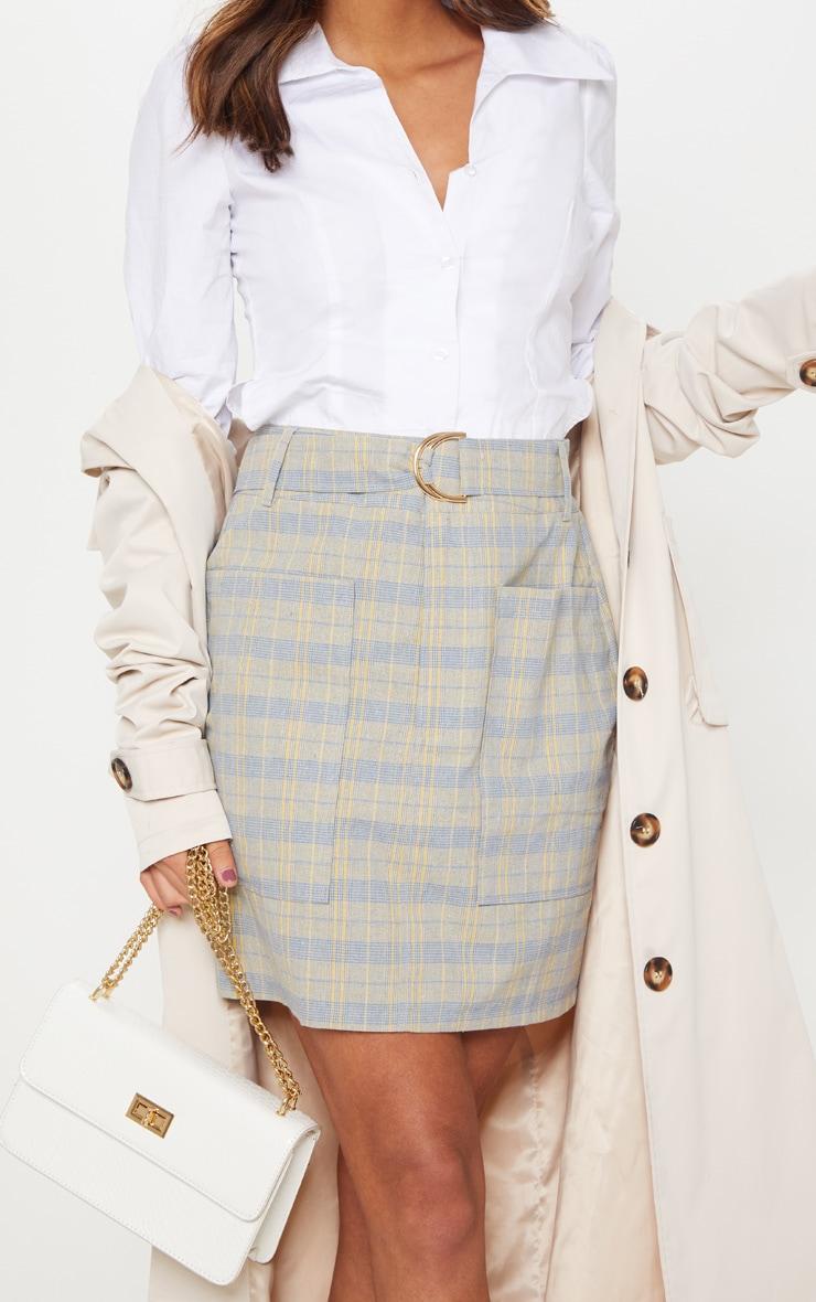 Navy Check Pocket Detail Mini Skirt 6