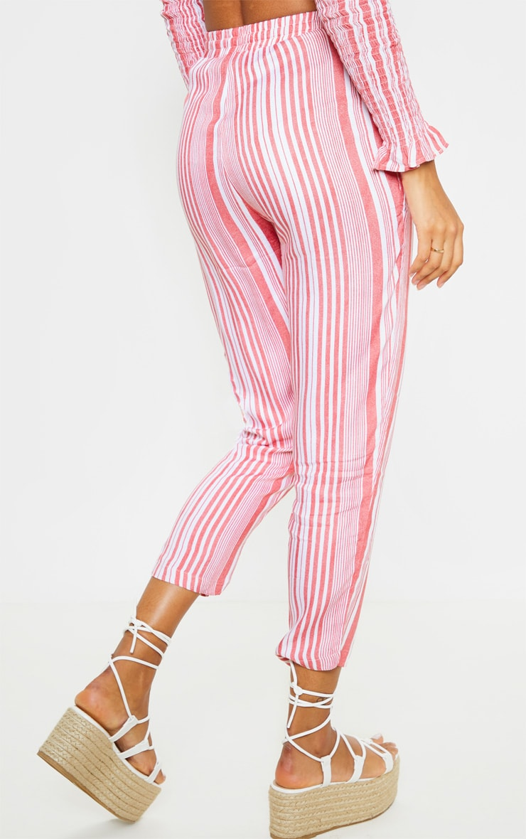 Red Stripe Printed Casual Trousers 4