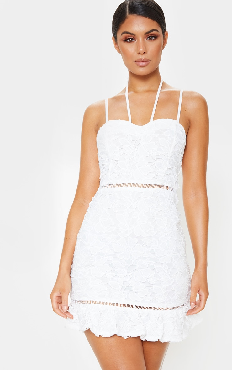 White Strappy Lace Tie Front Bodycon Dress 1