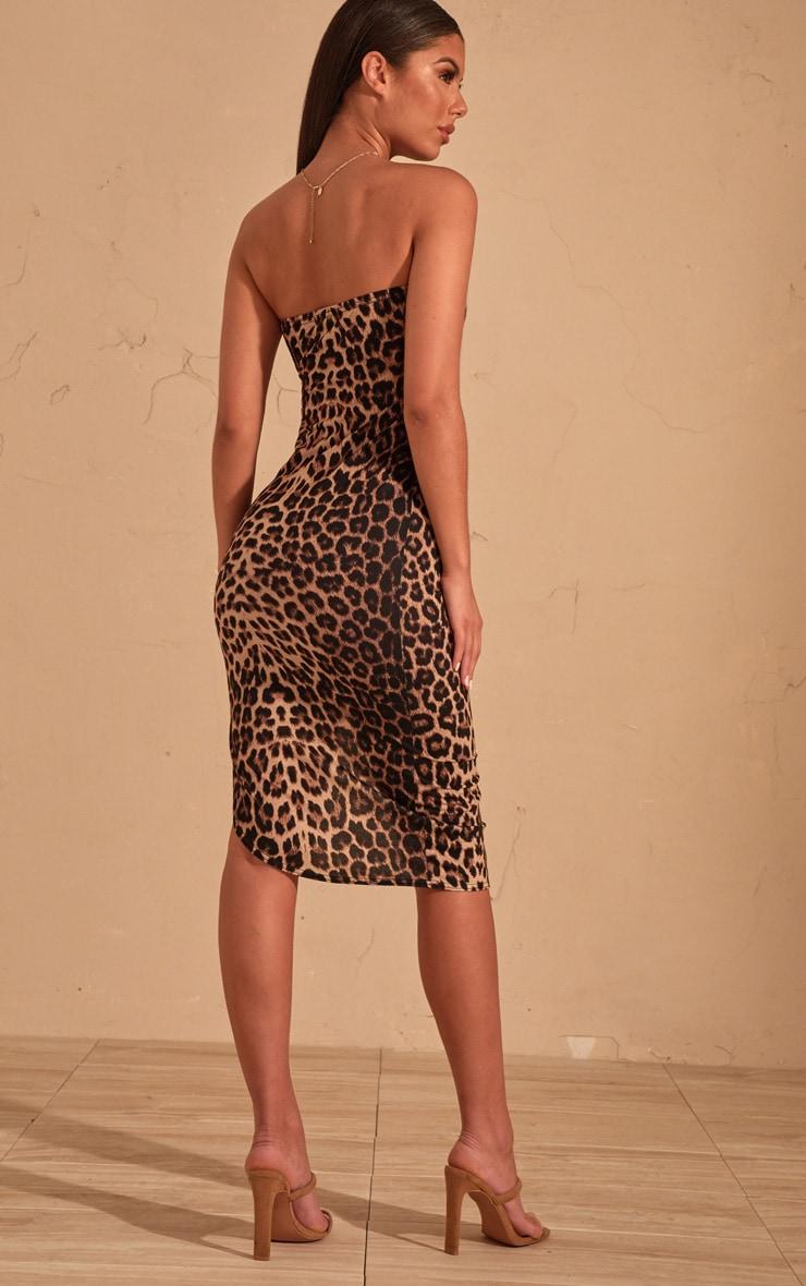 Robe mi-longue bandeau marron imprimé léopard fendue devant 2