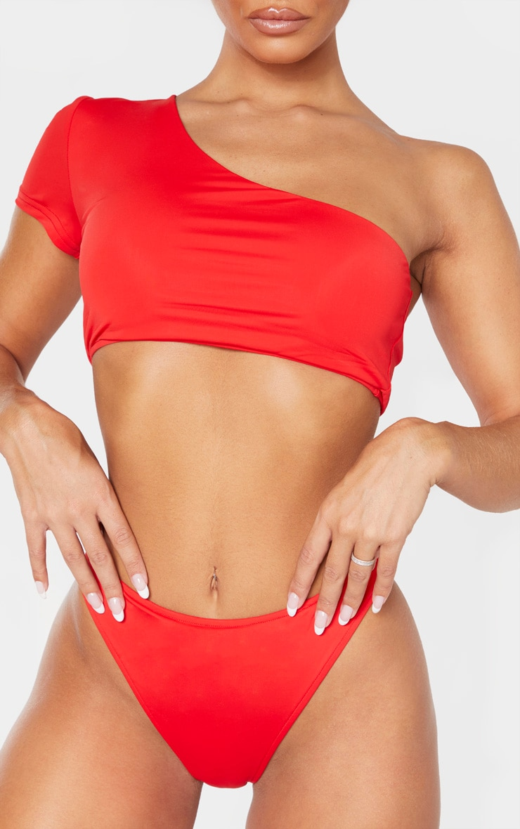 Red High Leg Cheeky Bikini Bottom 5
