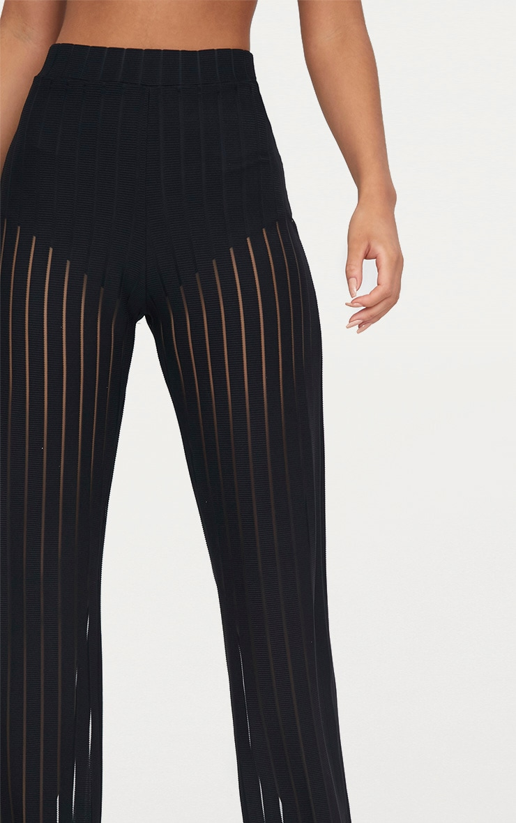 Black Mesh Stripe High Waisted Wide Leg Pants 5