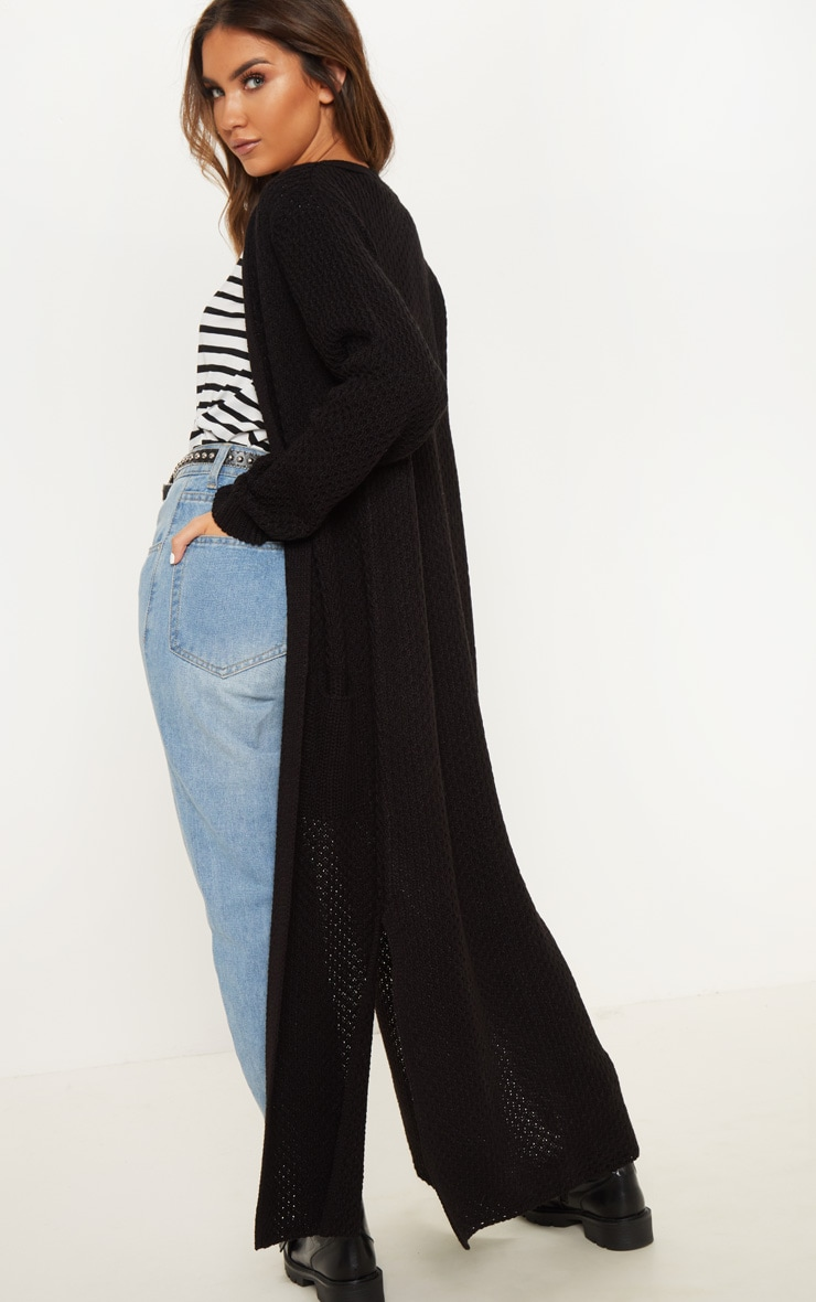 Black  Chunky Knit Maxi Cardigan  2