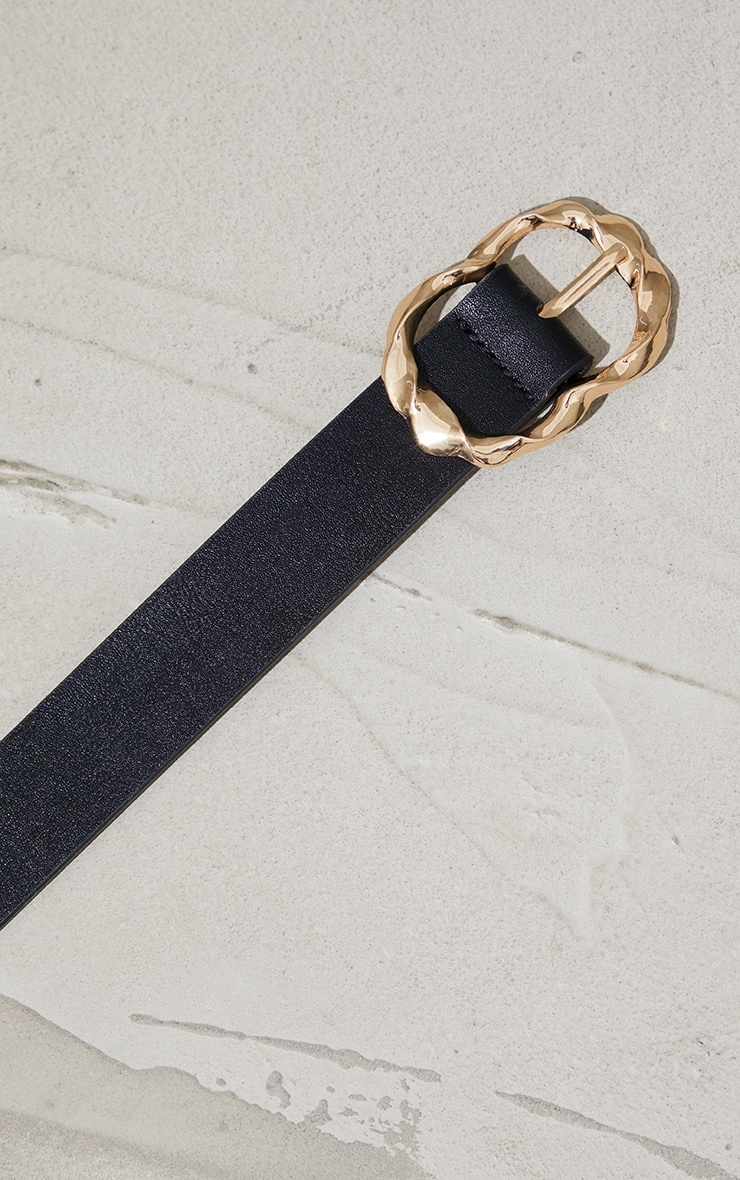 Gold Oversized Twist Black Waist Belt 3