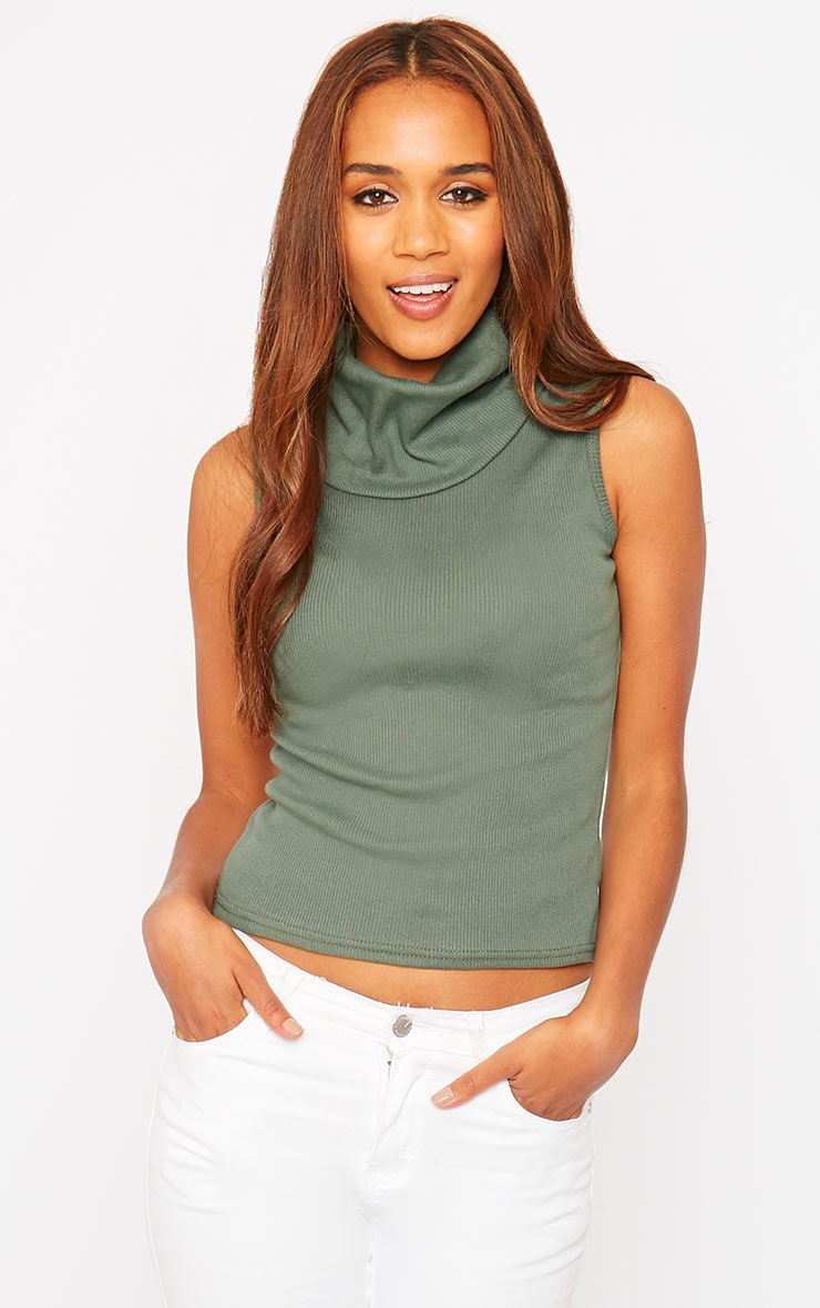 Melina Khaki Ribbed Turtle Neck Top 4