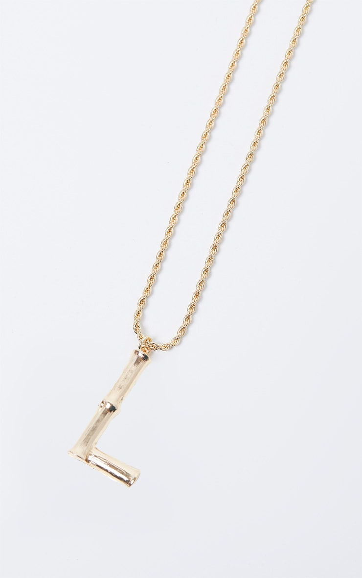 Gold L Bamboo Letter Necklace 3