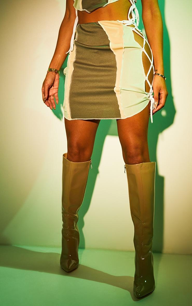 Shape Khaki Rib Panel Overlock Lace Up Side Bodycon Skirt 2