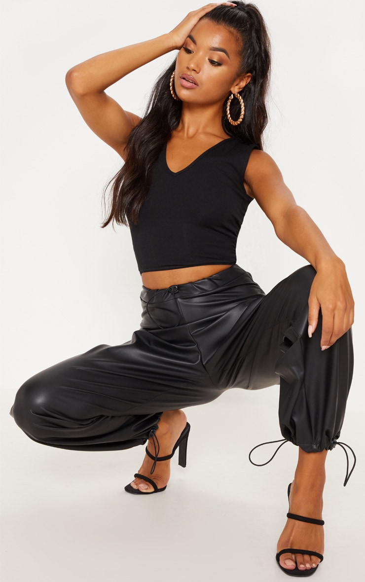 Basic Black Longline V Neck Crop Top 1