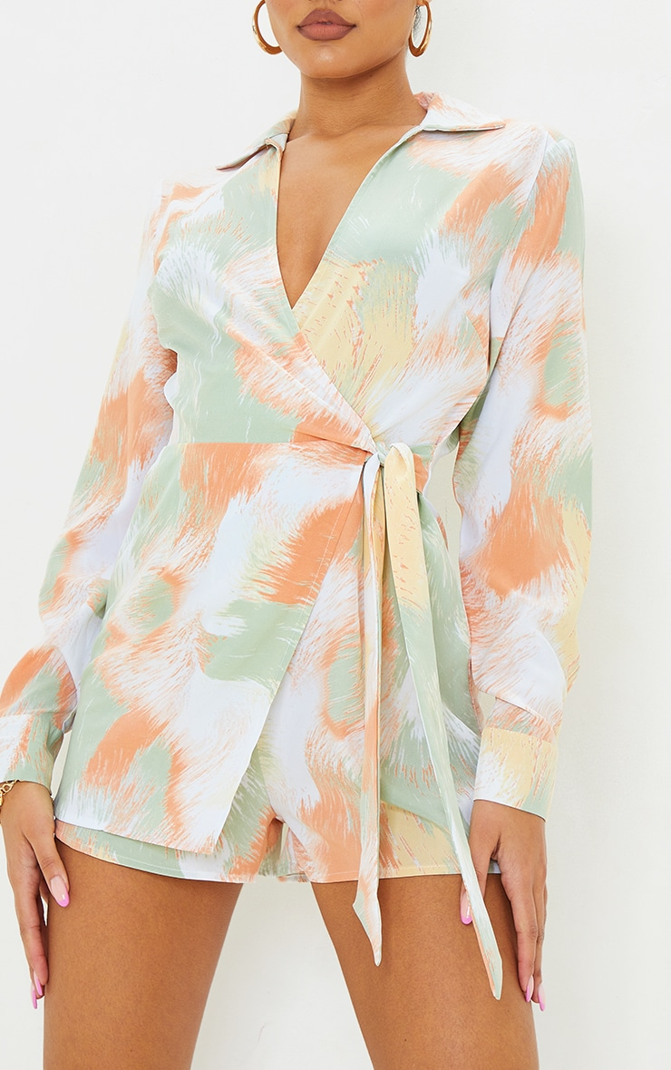 Green Printed Wrap Collared Playsuit 4