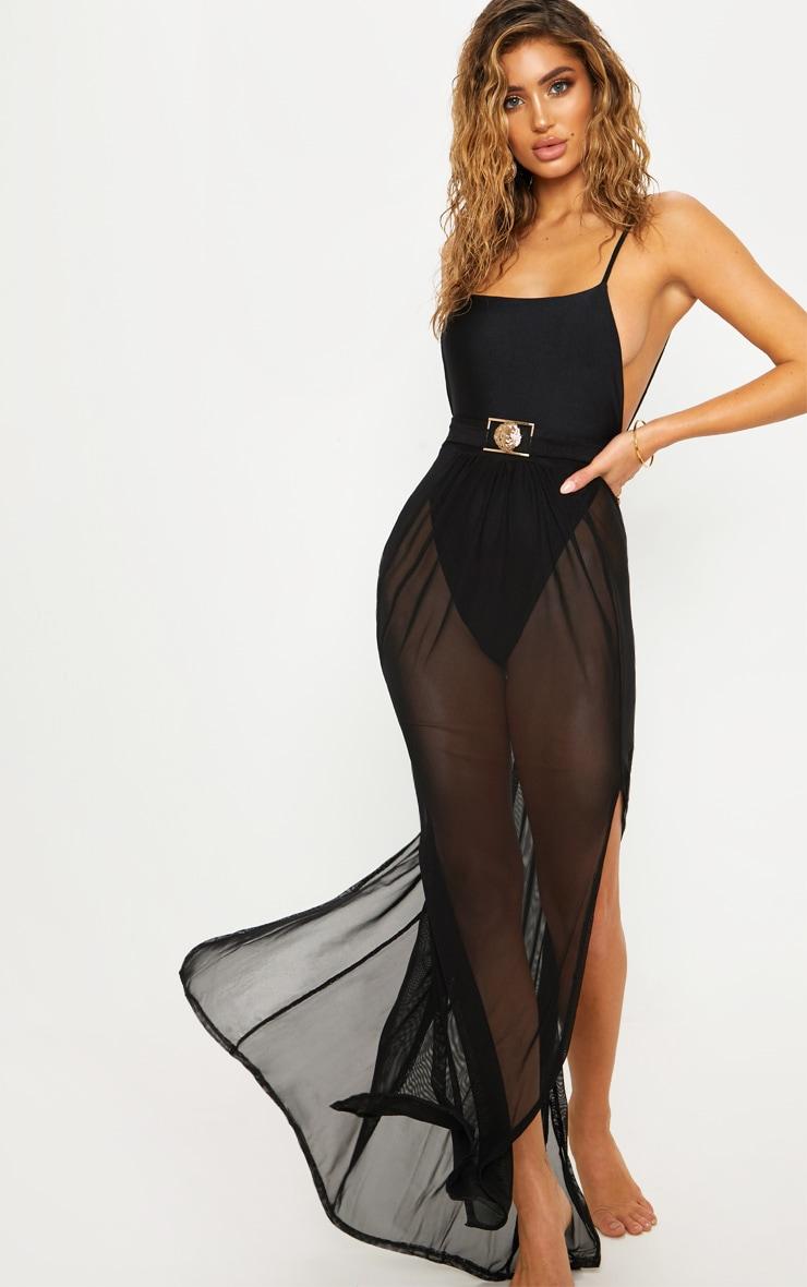 Black Lion Belted Mesh Beach Skirt