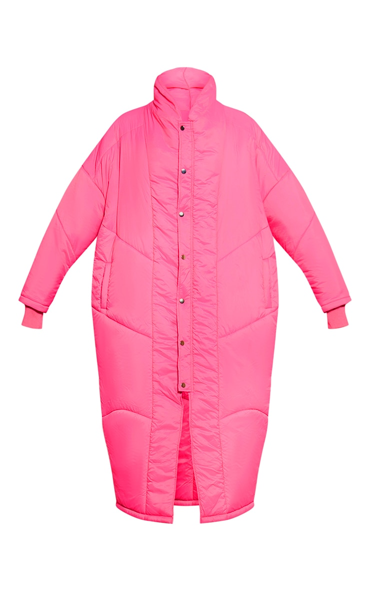 Dark Pink Midi Oversized Puffer Coat 3