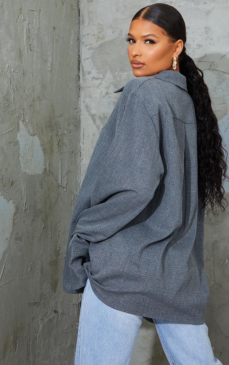 Dark Grey Oversized Cuff Shirt 2
