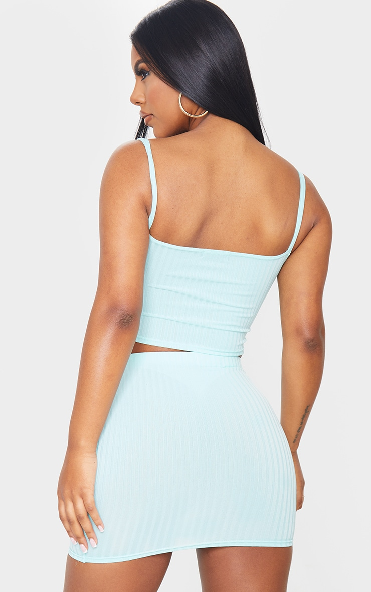Mint Rib Square Neck Crop Top 2