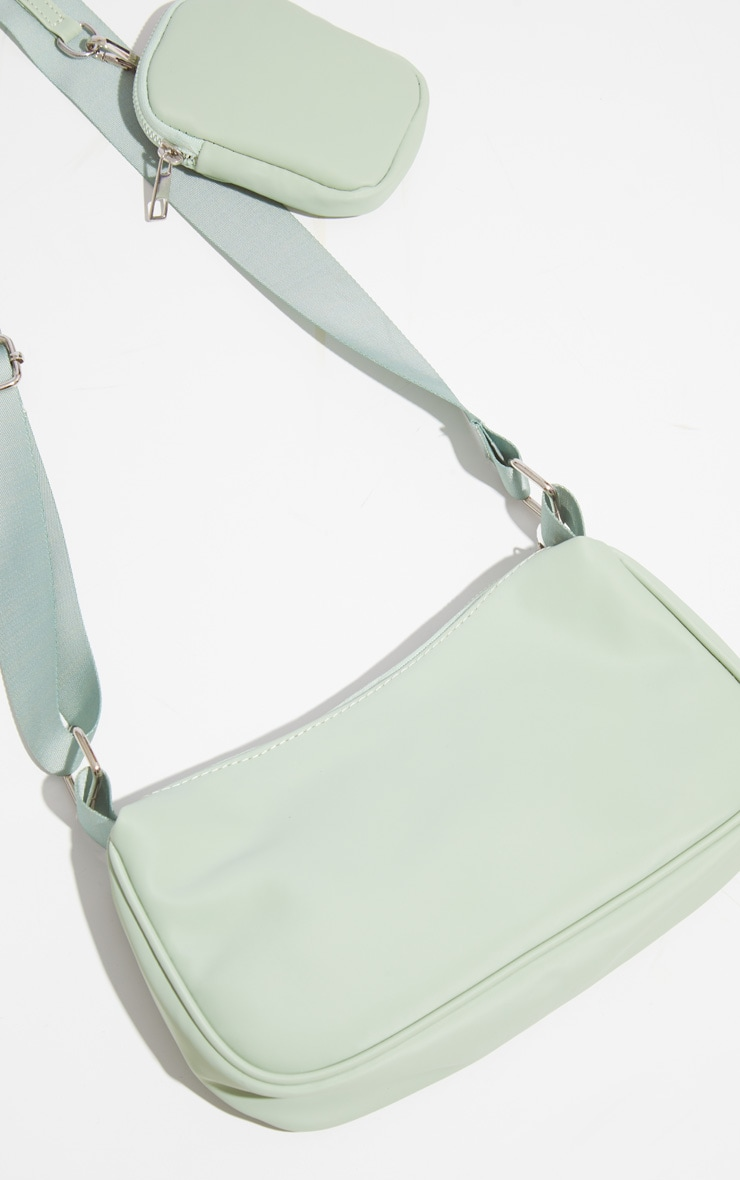 Sage Green Multi Pocket Cross Body Bag 4