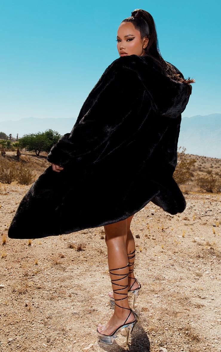 Black Premium Longline Faux Fur Hooded Coat 2
