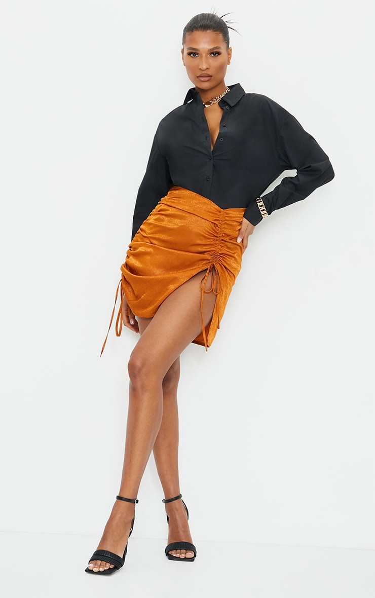 Rust Hammered Satin Ruched Detail Mini Skirt 1