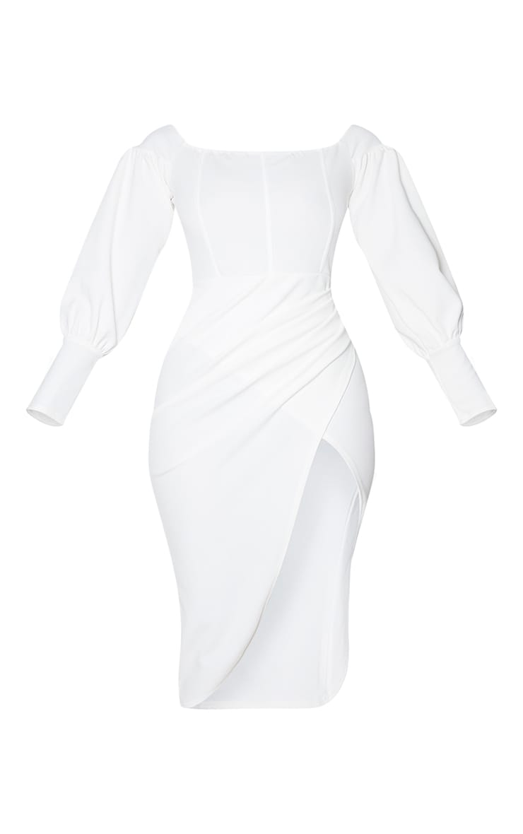 White Bardot Corset Wrap Detail Midi Dress 5